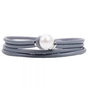 Grey Pearl and Leather Bracelet