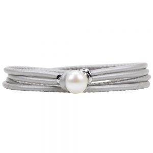 Oyster Pearl and Leather Bracelet