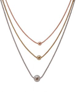 Triple strand silver, gold and rose gold necklace