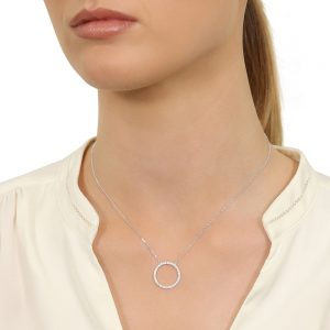 Model wearing Circle of Life Necklace