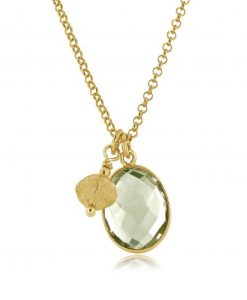 Letty gold & green amethyst charm pendant necklace