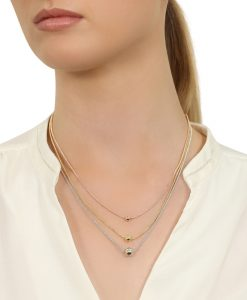 Silver, Gold and Rose GoldTriple strand silver, gold and rose gold necklace