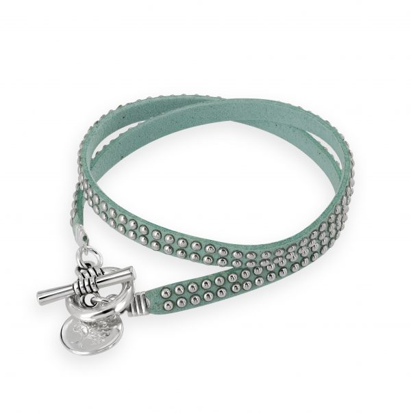 Stunning Aqua Jojo bracelet with tree of life disc charm
