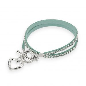 Stunning aqua Jojo wrap bracelet with heart charm drop
