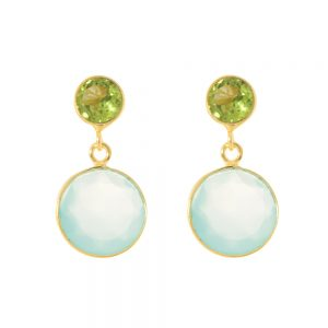 Gold peridot aqua duet earrings