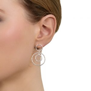 Model wears Silver 88 earrings