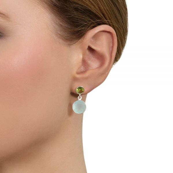 Aqua and Peridot Duet earrings in silver