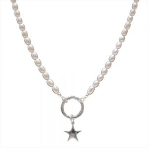 pearl necklace with silver star drop
