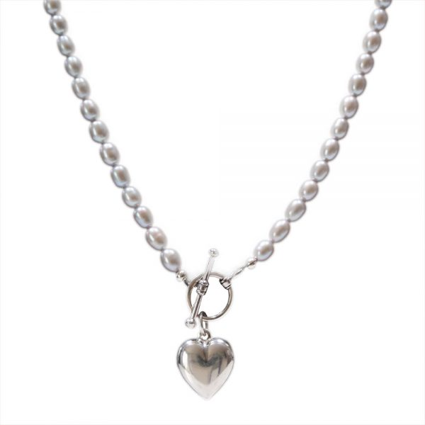 pearl necklace heart drop