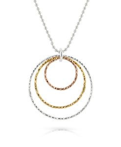 Chrissie silver, gold and rose gold 3 ring necklace