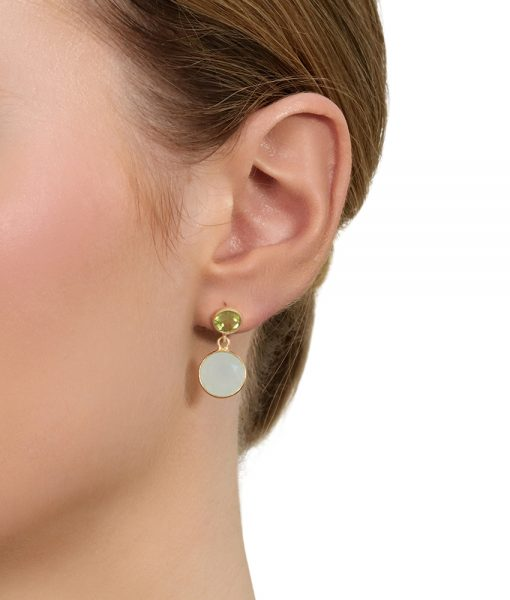 Aqua and peridot duet earrings in gold