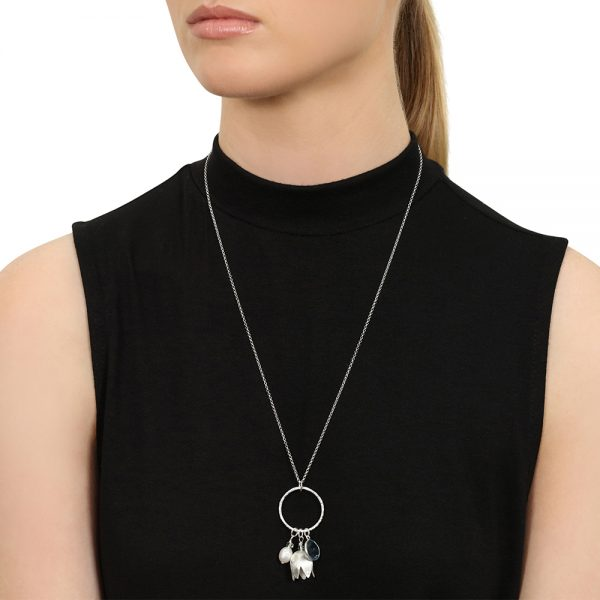 Model Wears Silver Harriet Charm Necklace