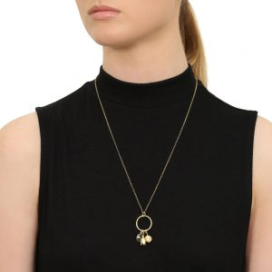 Model Wears Gold Heidi Charm Necklace