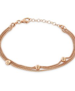 Rose triple strand bracelet with polished rose balls