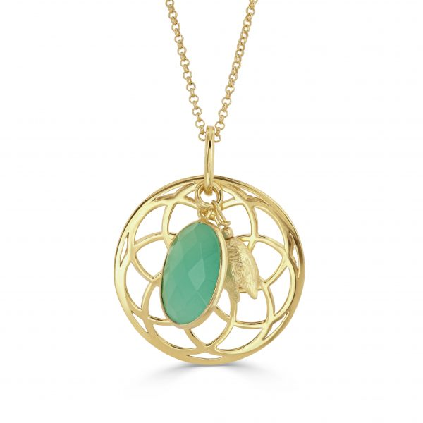 Stunning gold sunshine necklace with aqua chalcedony drop