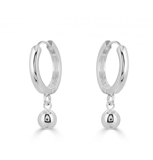 Polished silver Bindi huggie earrings