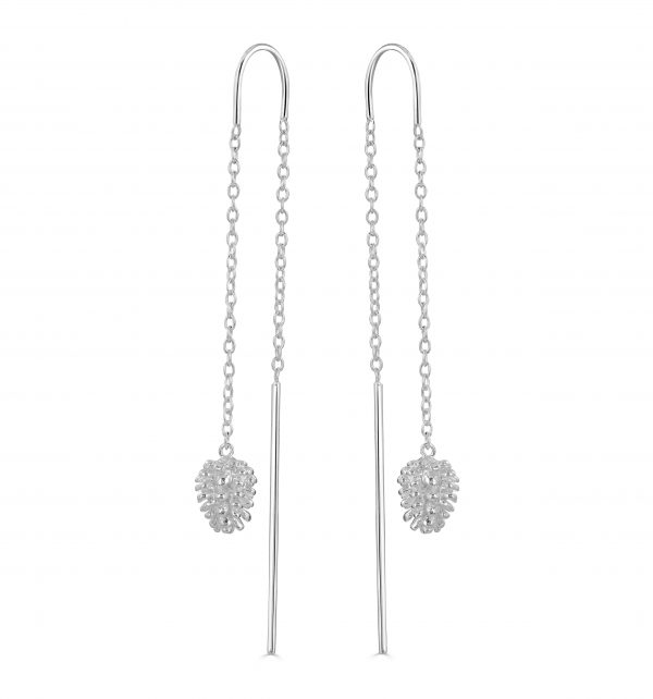 Silver Fircone pull through earrings