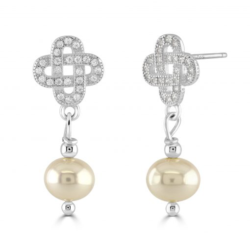CZ and freshwater pearl drop silver earrings