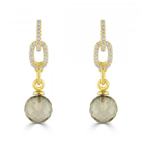 Gold plated silver earrings with cubic zirconia and faceted green amethyst ball drop