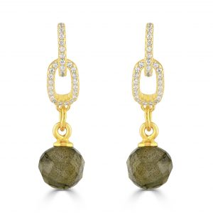 Gold plated silver earrings with cubic zirconia and faceted labradorite ball drop