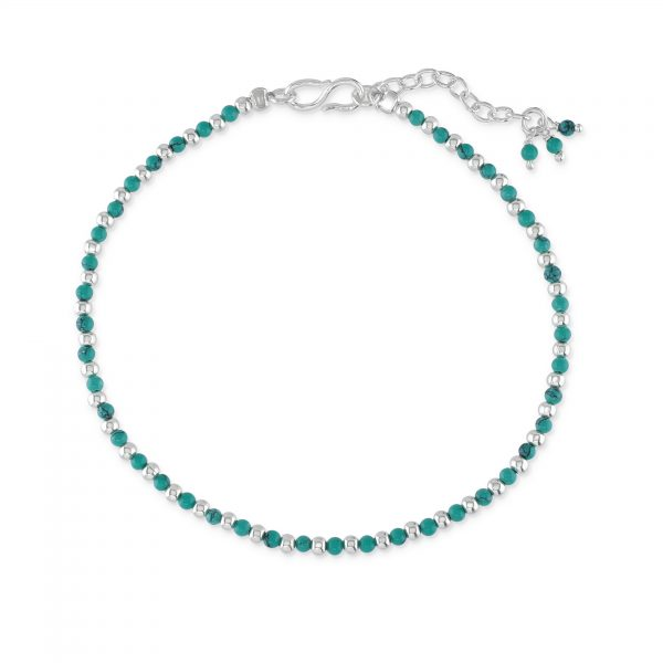 Silver and turquoise coloured bracelet