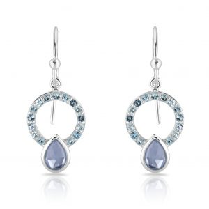 Silver Allegra earrings with blue topaz quartz