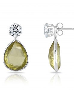 Annabel earring with lemon quartz interchangeable drop