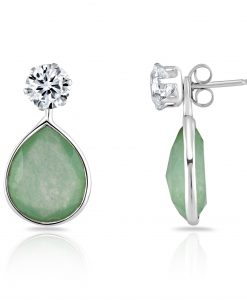 Annabel earring with interchangeable green chalcedony drop