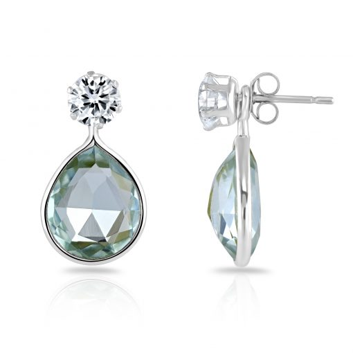 Annabel Earring with blue topaz quartz drop