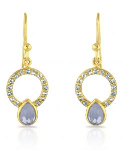 gold earrings with blue topaz quartz