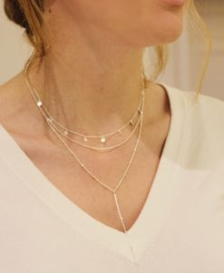 Silver Binki worn with silver Tilly Disc Necklace