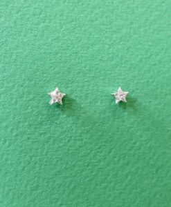 Mini Cubic Zirconia Silver Star Stud Earrings
