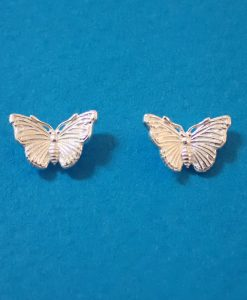 Larger silver butterfly studs