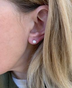 Shell Stud Earring on the ear