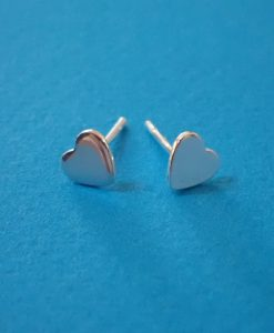 Small Silver Heart Studs