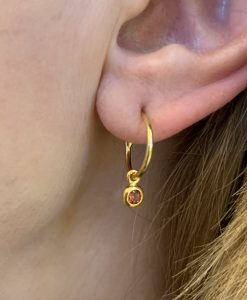 gold garnet birthstone earrings