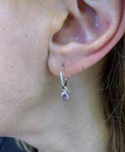 silver amethyst birthstone earrings