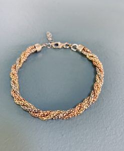Three coloured twisted silver, rose and gold bracelet