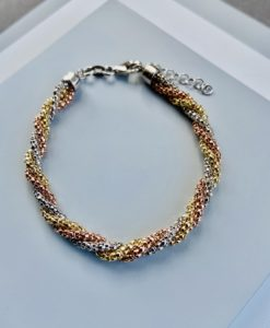 Silver, gold and rose twisted rope bracelet