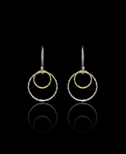 Silver and Gold Double Circle Earrings