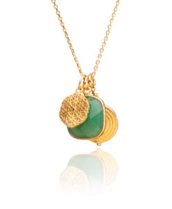 Green Onyx & Gold Pendant Necklace