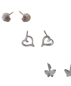 Triple pack silver stud earrings - great value