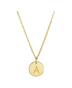 Gold Initial Disc Pendant Necklace