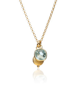 Blue Topaz and Gold Charm Necklace