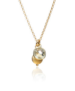 Green Amethyst and Gold Charm Necklace