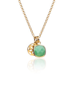 Green onyx and gold charm necklace onWhite