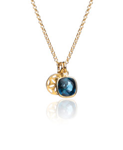 Midnight Blue and Gold Charm Necklace on white
