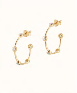 Athena Stone and Pearl Gold Hoop Earrings
