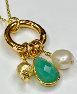 Green and Gold Interchangeable Charm Necklace